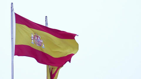 Amazing view on two waving Spanish flags, nationality and patriotism, freedom Footage