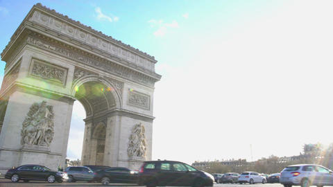 Rush hour in Paris, intensive traffic near tourist attraction in France capital Live Action