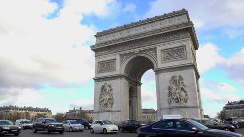 Place Charles de Gaulle with beautiful Arc de Triomphe in center, Paris sights Footage