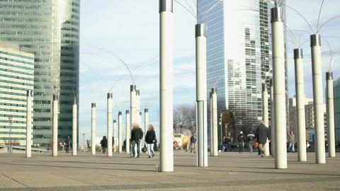 Creative streetlights near all-glass business center, modern art, unusual shapes Footage