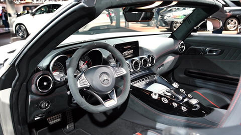 Mercedes-AMG GT Roadster luxury performance car interior dashboard on display du Live Action