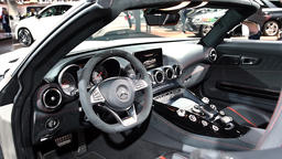 Mercedes-AMG GT Roadster luxury performance car interior dashboard on display du Footage