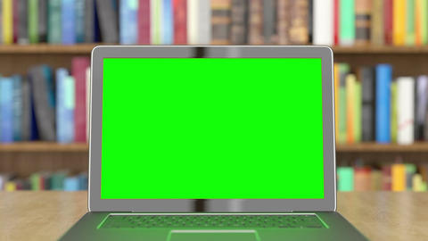 Green Screen Laptop in the Library Filmmaterial