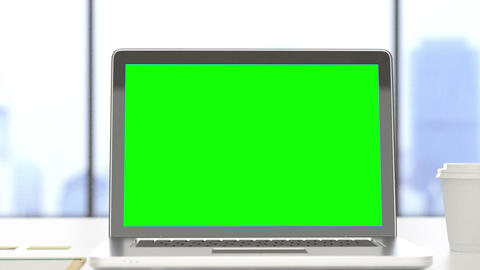 Laptop with track green screen on a desktop Footage