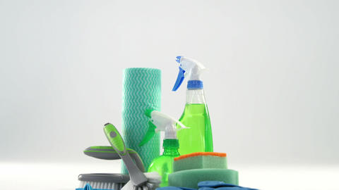 Close-up of various housekeeping supplies Footage