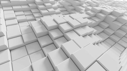 Beautiful Abstract White Boxes Rising in Looped 3d Animation. Seamless Backgroun Animation