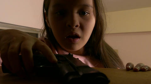 Child finds gun in cupboard amazed 2 Footage