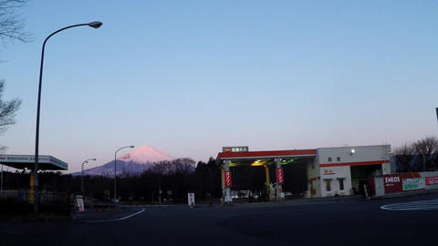 Fuji seen from the service area in the early morning Footage