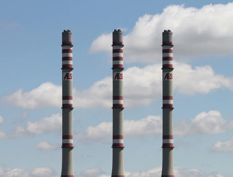 4 K AES Energy Factory Towers Clouds Timelapse Stock Video Footage