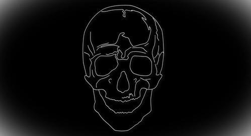 4K Human Skull 02 front Stock Video Footage