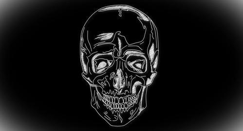 4K Human Skull 04 front Animation