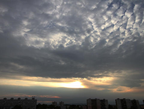4K Lightrays Clouds Sunset Timelapse over Industrial City 02 Stock Video Footage