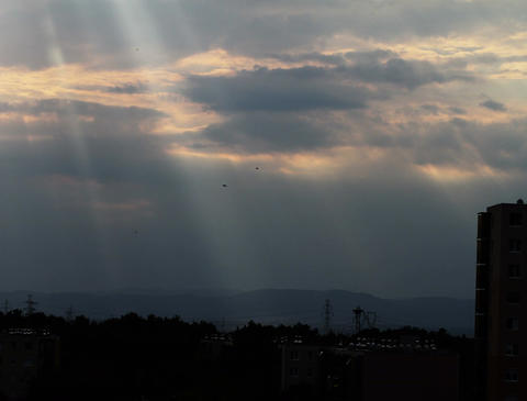 4K Lightrays Clouds Sunset Timelapse over Industrial City 05 Stock Video Footage
