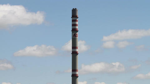 AES Energy Factory Tower Clouds Timelapse Stock Video Footage