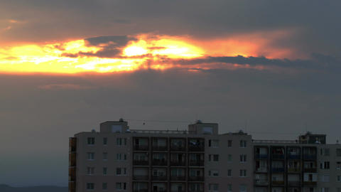 Clouds Sunset Timelapse over Industrial City 03 Stock Video Footage