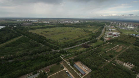 Factory Aerial View 04 tilt pan Stock Video Footage