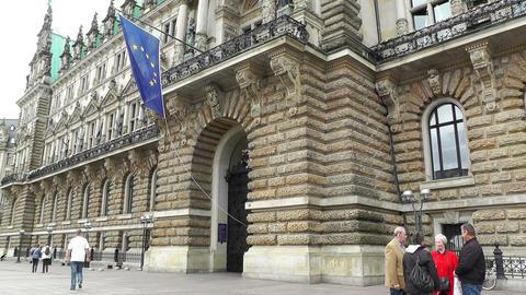 Hamburg City Hall 03 european union flag Stock Video Footage