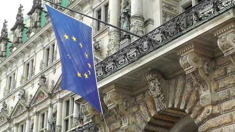 Hamburg City Hall 04 european union flag Image