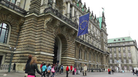 Hamburg City Hall 07 european union flag Stock Video Footage