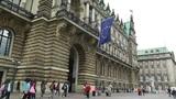 Hamburg City Hall 07 european union flag Footage
