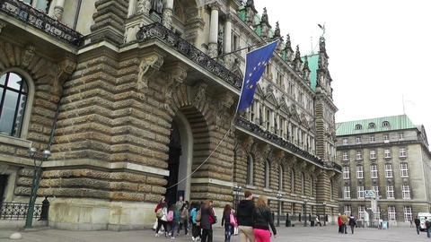 Hamburg City Hall 07 european union flag Footage