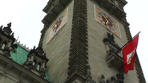 Hamburg City Hall 09 flag Stock Video Footage
