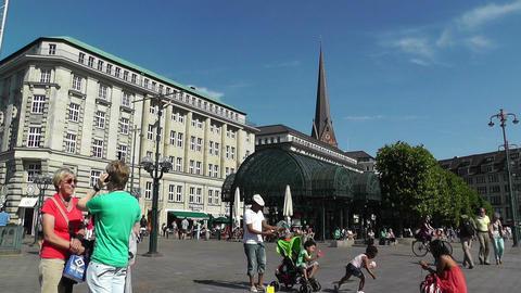 Hamburg City Hall 11 pan Stock Video Footage
