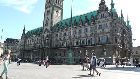 Hamburg City Hall 11 pan Stock Video Footage