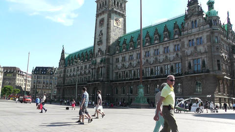 Hamburg City Hall 11 pan Footage