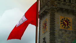 Hamburg City Hall 15 flag stylized Footage