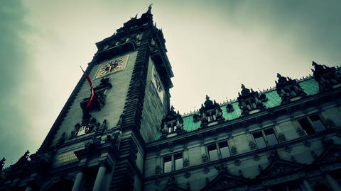 Hamburg City Hall 17 stylized Stock Video Footage
