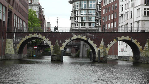 Hamburg Downtown 04 canal Stock Video Footage