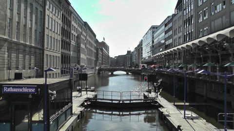 Hamburg Downtown 06 canal Stock Video Footage