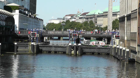 Hamburg Downtown 12 canal Stock Video Footage