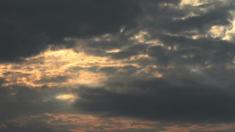 Lightrays Clouds Sunset Timelapse Stock Video Footage