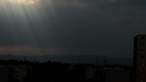 Lightrays Clouds Sunset Timelapse over Industrial City 04 Stock Video Footage