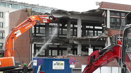 Machine Destroying Building 03 with sound Stock Video Footage