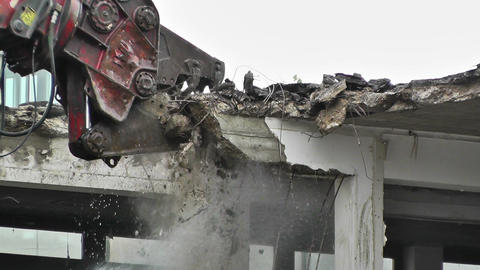 Machine Destroying Building 05 with sound Stock Video Footage