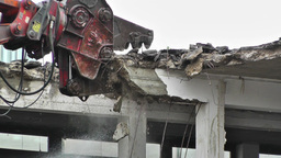 Machine Destroying Building 05 with sound Footage