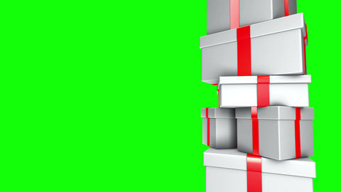 Pile of Gifts White (Loop on Green Screen) Stock Video Footage