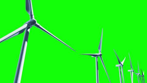 Wind Turbines (Loop on Green Screen) Stock Video Footage