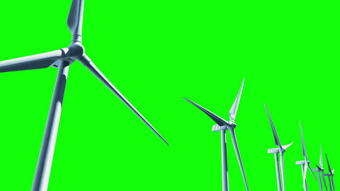 Wind Turbines (Loop on Green Screen) Animation