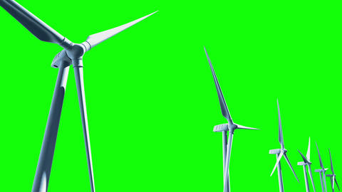 Wind Turbines (Loop on Green Screen) Stock Video Footage