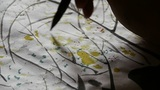 Use Writing Brush To Creating Traditional Chinese Painting. stock footage