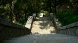 Tourists walking in mountain stone steps,climber walking on boulevard in mountai Footage