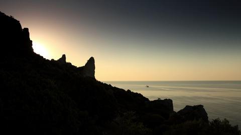 Timelapse sunrise in the mountains. Noviy Svet, Crimea,... Stock Video Footage
