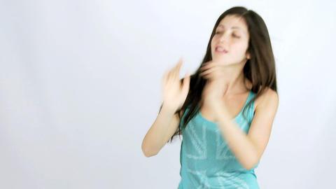 Beautiful girl dancing happy Stock Video Footage