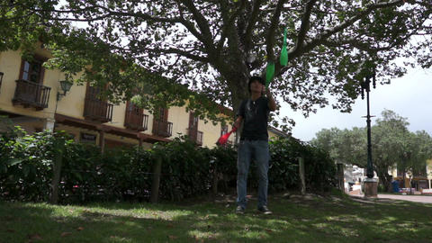 Solo Street Juggler Stock Video Footage