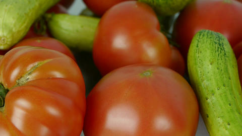A set of fresh tomato & cucumber fruit vegetables Footage