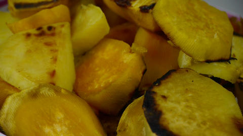 Rotation of delicious fried sweet potatoes Stock Video Footage